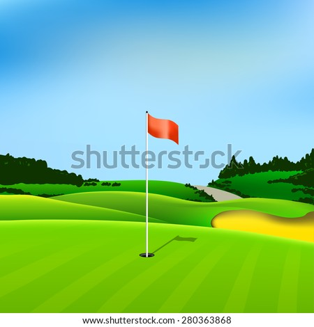 Golf hole vector green tee background illustration with flag and trees - stock vector
