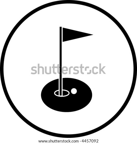 golf hole with flag symbol - stock vector