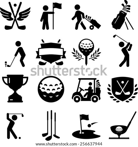 Golf icon set. Vector icons for digital and print projects.