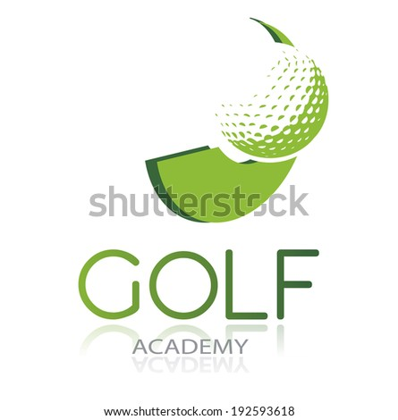 Golf icon with green ball and dynamic shape, isolated, vector illustration - stock vector