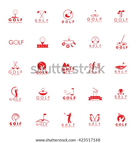 Golf Icons Set - Isolated On White Background - Vector Illustration, Graphic Design  - stock vector