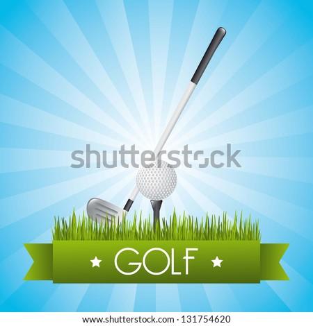 golf illustration over blue background. vector - stock vector