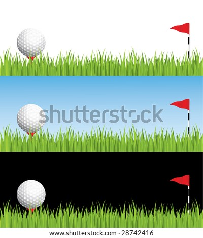 Golf illustration with different backgrounds - stock vector