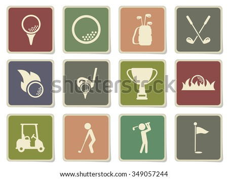 Golf label icons for web - stock vector
