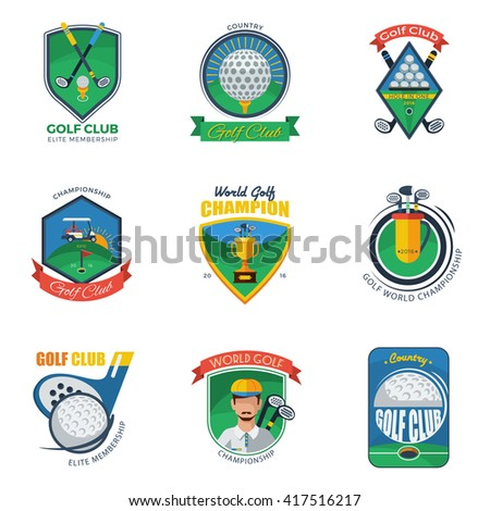 Golf Labels and Emblems Set Isolated Vector Illustration