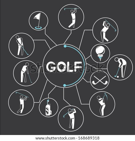 golf mind mapping, golf info graphics - stock vector