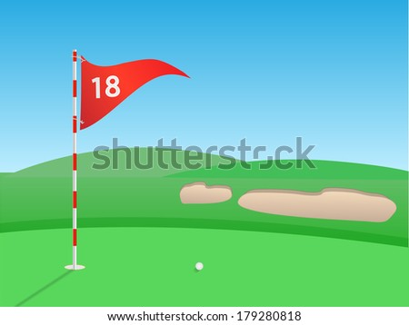 Golf outdoor scene vector illustration