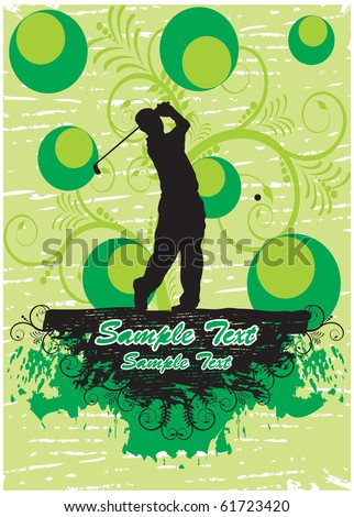 Golf player in green floral background (part of full set) - stock vector