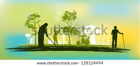 Golf player silhouette - stock vector