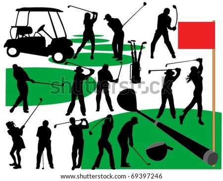 Golf player silhouettes - stock vector