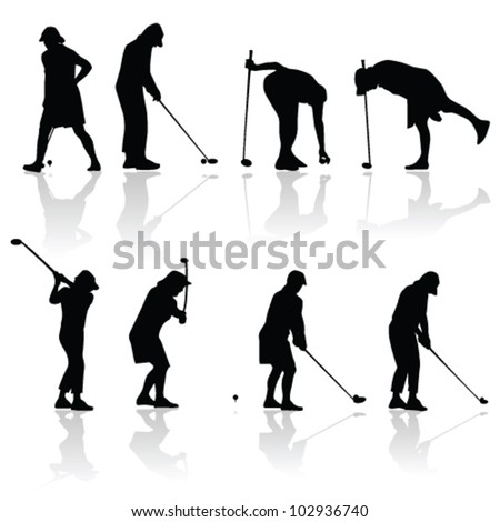 golf player woman black silhouette on white background - stock vector