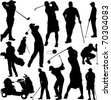 Golf players and equipment silhouettes - stock vector