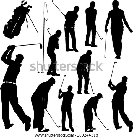 Golf players and equipment silhouettes - vector - stock vector