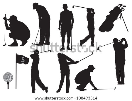 Golf players silhouette - stock vector