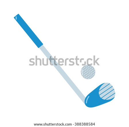 Golf putter and golf ball vector on white background. Golf putter with golf ball on white background. Golf collection. Vector illustration golf putter. Golf putter icons flat design. - stock vector
