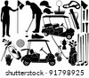 Golf set - stock vector