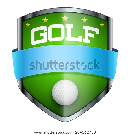 Golf Shield badge. The symbol of the sports club or team. Vector Illustration isolated on white background. - stock vector