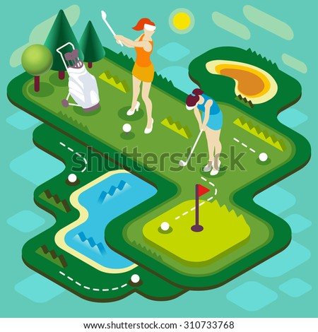 Golf Sport Match Concept. Interacting People Unique Isometric�Realistic Poses. NEW bright palette 3D Flat Vector Illustration. Golf Club Players with Stroke Ball Course or Professional Competition - stock vector