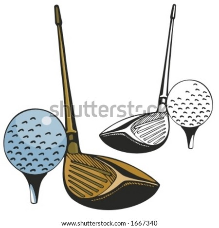 Golf stick and a ball. Vector illustration