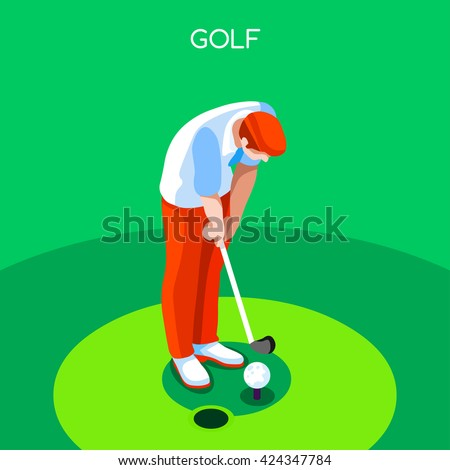 Golf 2016 Summer Games Icon Set.3D Isometric Golfer Athlete.Sporting Championship International Golf Match Competition.Sport Infographic olympics Golf Vector Illustration. - stock vector