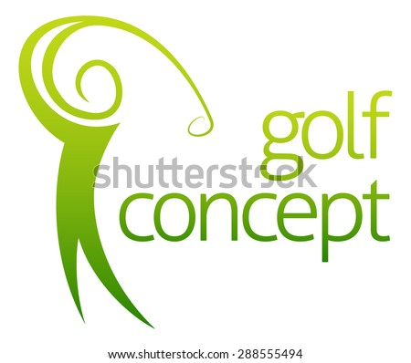 Golf swing abstract concept of a golfer figure playing golf - stock vector