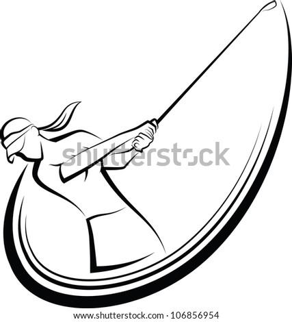 Golf Swing Girl Golfer - stock vector