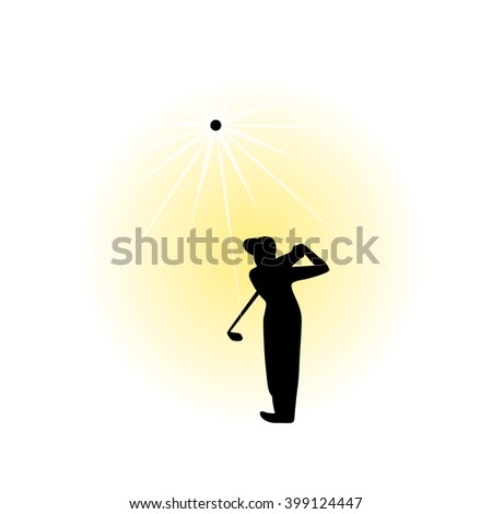 Golf swing. Golfer just finished hitting the ball.