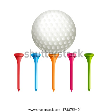 Golf tees. Vector.  Golf ball on tee - stock vector