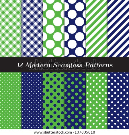 Golf Theme Jumbo Polka Dot, Gingham and Stripes Patterns in Grass Green, Navy Blue and White with Lime Stripe. Pattern Swatches made with Global Colors - easy to change all patterns in one click. - stock vector