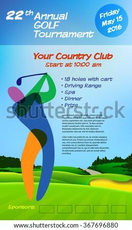 golf ticket brochure template annual golf stock vector hd royalty