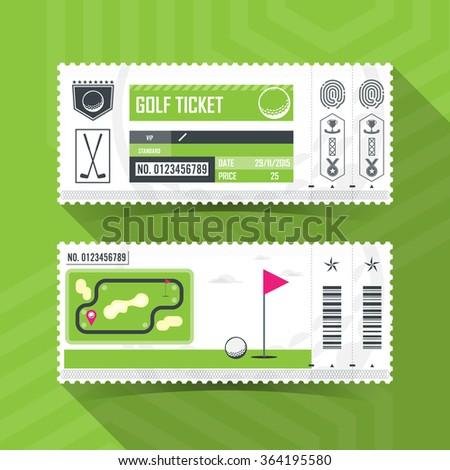 Golf Ticket Card modern element design - stock vector