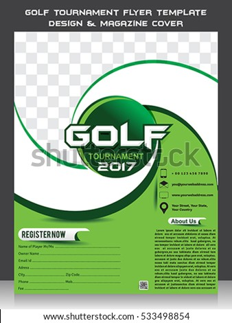 Golf Tournament Flyer Template Design U0026 Magazine Cover Vector Illustration