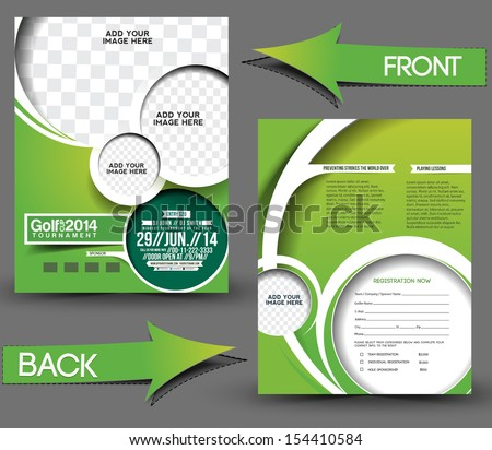 Golf Tournament Front & Back Flyer Template - stock vector