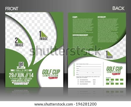 Golf Tournament Front Back Flyer Template Stock Vector - Golf brochure template