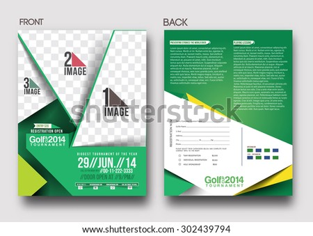 Golf Tournament Front Back Flyer Template Stock Vector