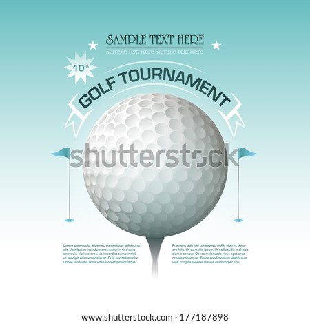Golf tournament invitation banner background Vector illustration - stock vector