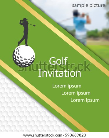 Golf Tournament Invitation Flyer Template Graphic Stock Vector