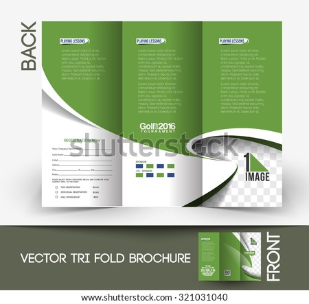 Golf Tournament Trifold Mock Brochure Design Stock Vector