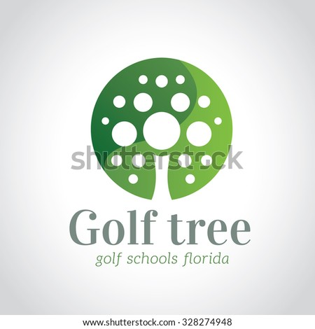 Golf Tree, Golf Logo,Vector Logo Template - stock vector