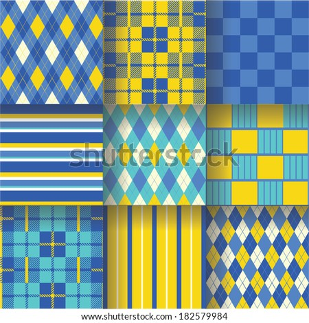 Golf ukrainian backgrounds. Seamless pattern background with yellow and blue colors. Vector illustration EPS-10. Pattern Swatches made with Global Colors - quick, simple editing of color - stock vector