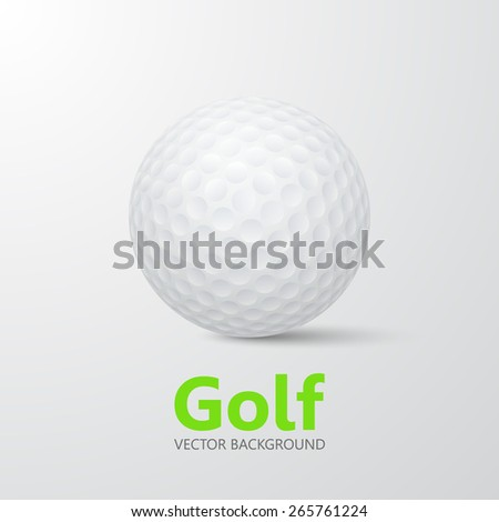 Golf - vector background with place for your text. Realistic 3d golf ball with shadow on a gray backdrop. EPS10.  - stock vector