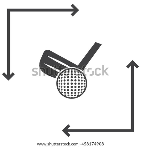Golf vector icon. Ball and club sign. Sports symbol