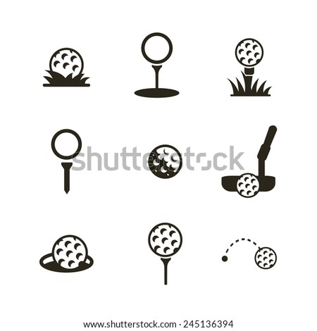 Golf Ball Logo Black Icon of a Golf Ball Black