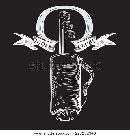 Golf. Vintage golf bag.Vector Golfing Champion Labels and Icons. Emblems for golf. Black. Professional sport emblems. Eps 8 - stock vector