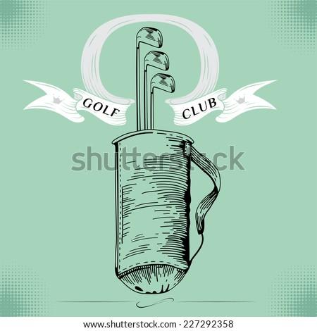 Golf. Vintage golf bag.Vector Golfing Champion Labels and Icons. Emblems for golf. Professional sport emblems. Eps 8 - stock vector