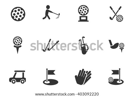 golf web icons for user interface design - stock vector