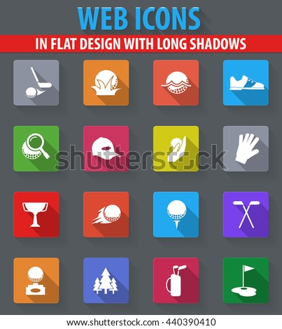 Golf web icons in flat design with long shadows