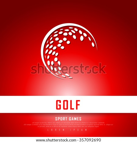 Golf White Red Freehand Sketch Graphic Design Vector Illustration EPS10  - stock vector