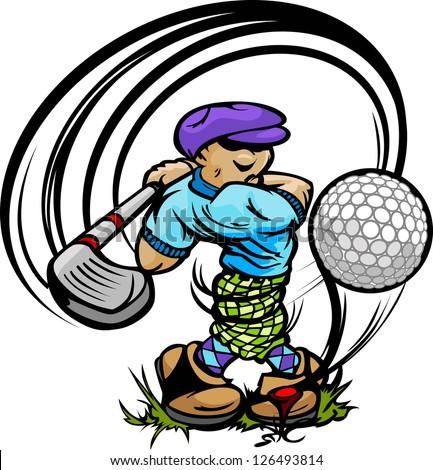 Golfer Cartoon Swinging Golf Club at Ball on Tee - stock vector