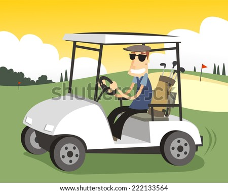 golfer driving a Golf cart in a sunny day. - stock vector
